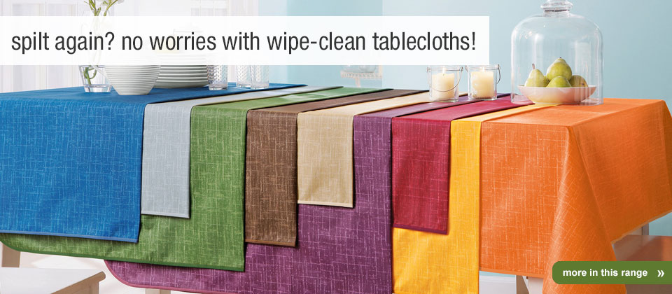 easy-care wipe-clean tablecloths